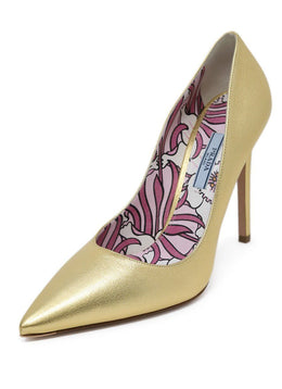 Prada Metallic Gold Leather Heels