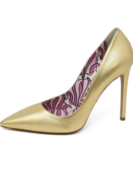 Prada Metallic Gold Leather Heels 1