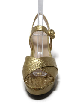 Prada Metallic Gold Embossed Leather Heels 1