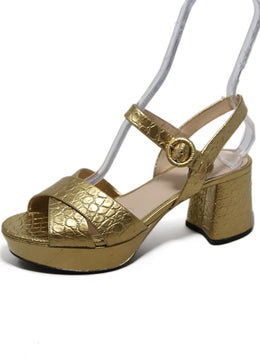 Prada Metallic Gold Embossed Leather Heels 2