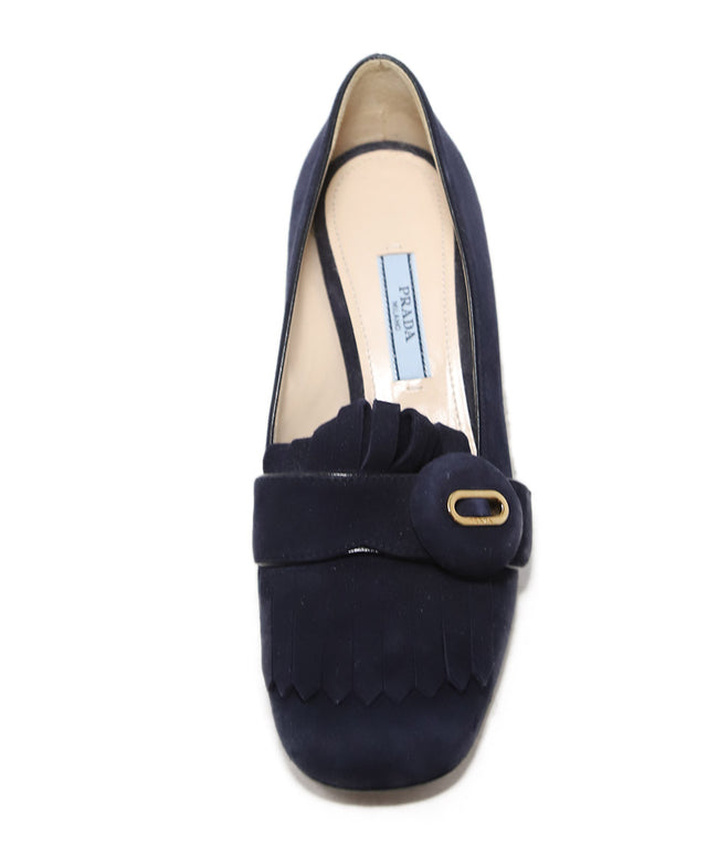 Prada Navy Heeled Loafers 1