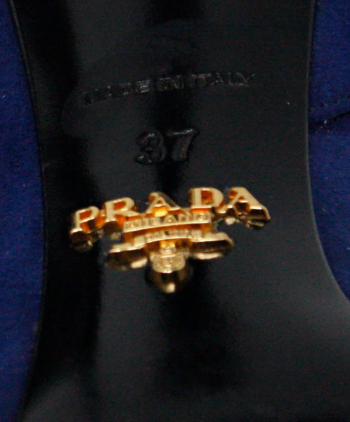 Prada Navy Suede Black Patent Leather Heels Sz 37