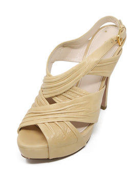 Prada Neutral Beige Leather Platform Sandals 1