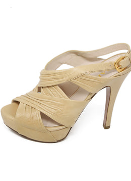 Prada Neutral Beige Leather Platform Sandals 2