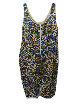 Prada Cream Brown Blue Silk Dress 2