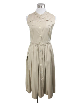 Prada Neutral Khaki Sleeveless Dress 1