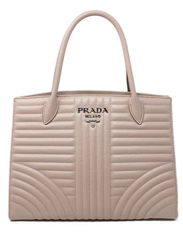 Prada Neutral Tan Quilted Leather Handbag 1