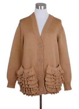 Prada Neutral Tan Wool Cardigan Sweater 1