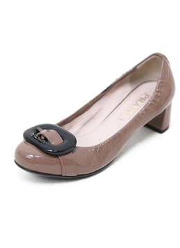 Prada Neutral Taupe Patent Leather Shoes