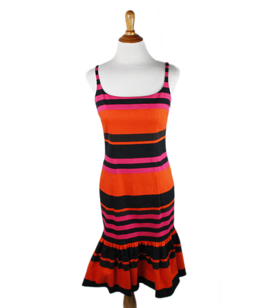Prada Orange Black Fucshia Cotton Dress