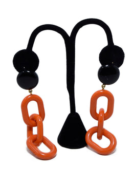 Earrings Prada Black Orange Acrylic Jewelry 1