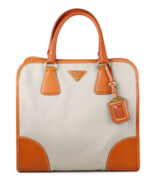Prada Orange Leather Canvas Handbag