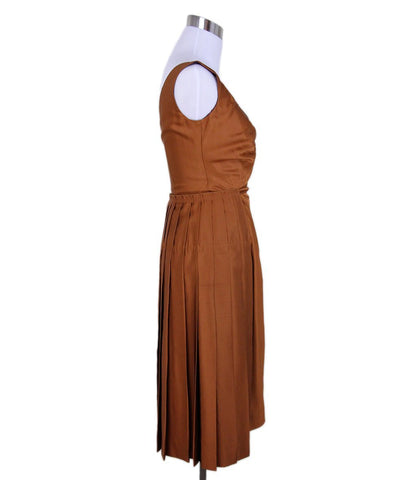 Prada Orange Rust Silk Dress 1