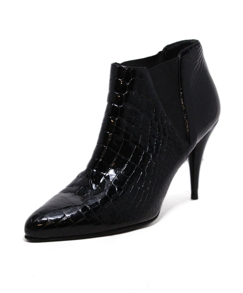 Prada Pressed Leather Black Booties 1