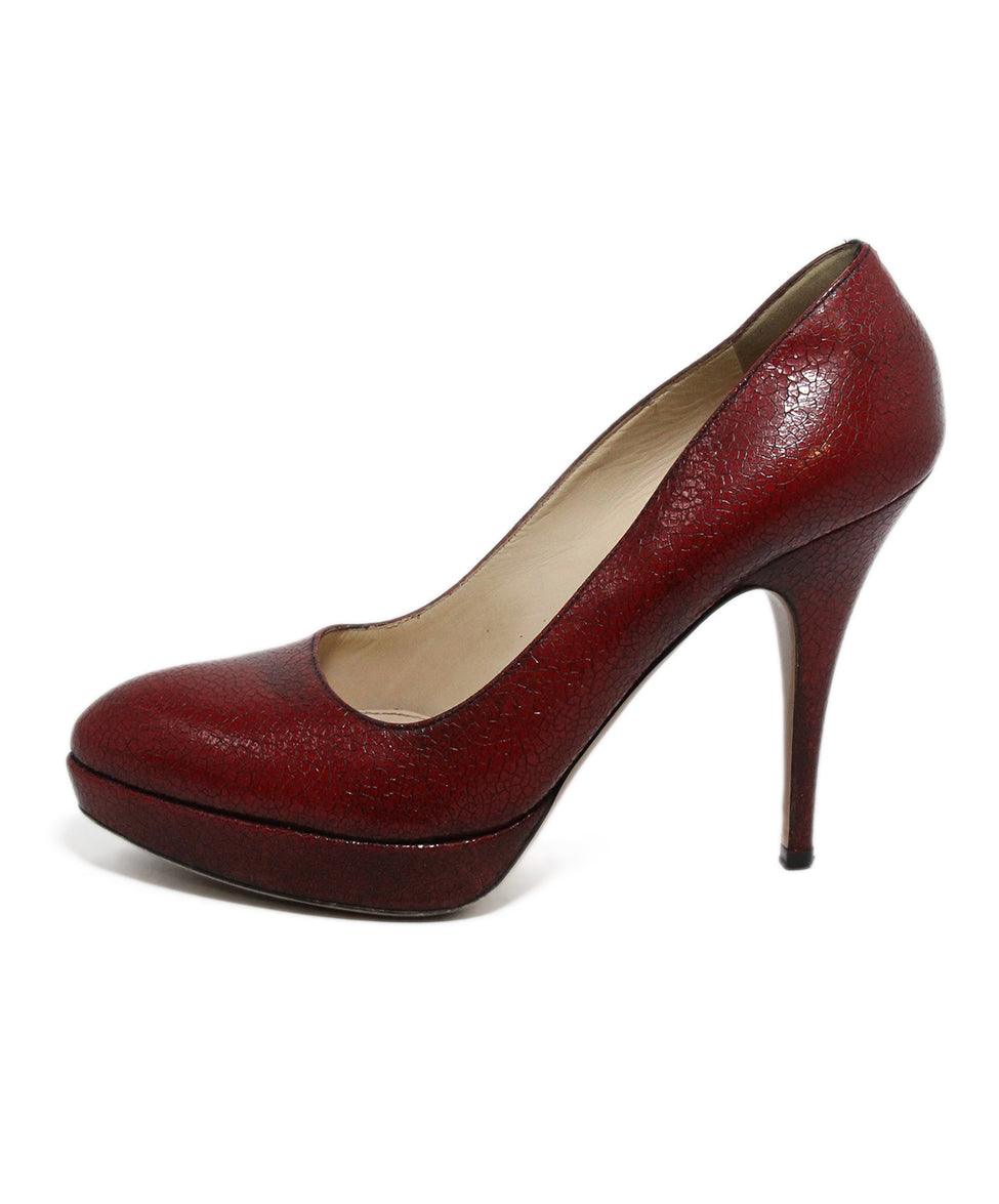 Prada Red Crackled Leather Heels 2
