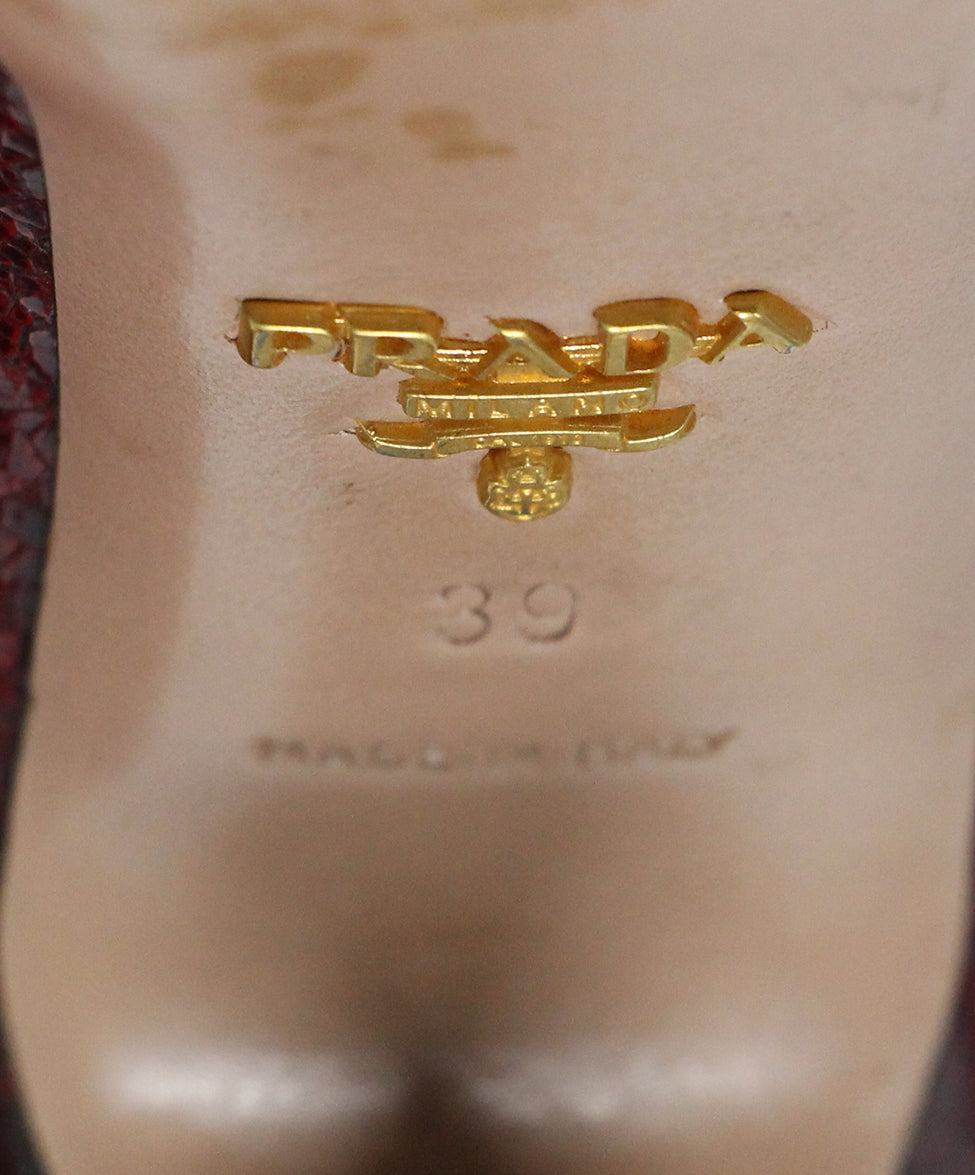 Prada Red Crackled Leather Heels 6