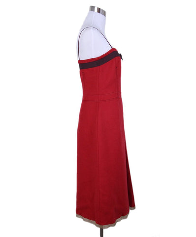 Prada Red Wool Wine Ribbon Dress 1
