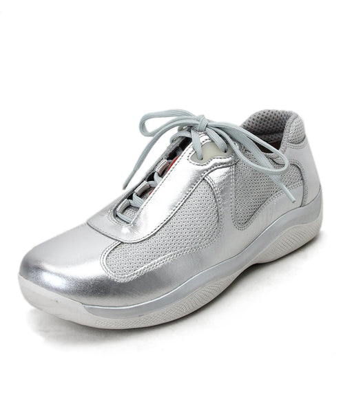 Prada Silver Leather Sneakers 1