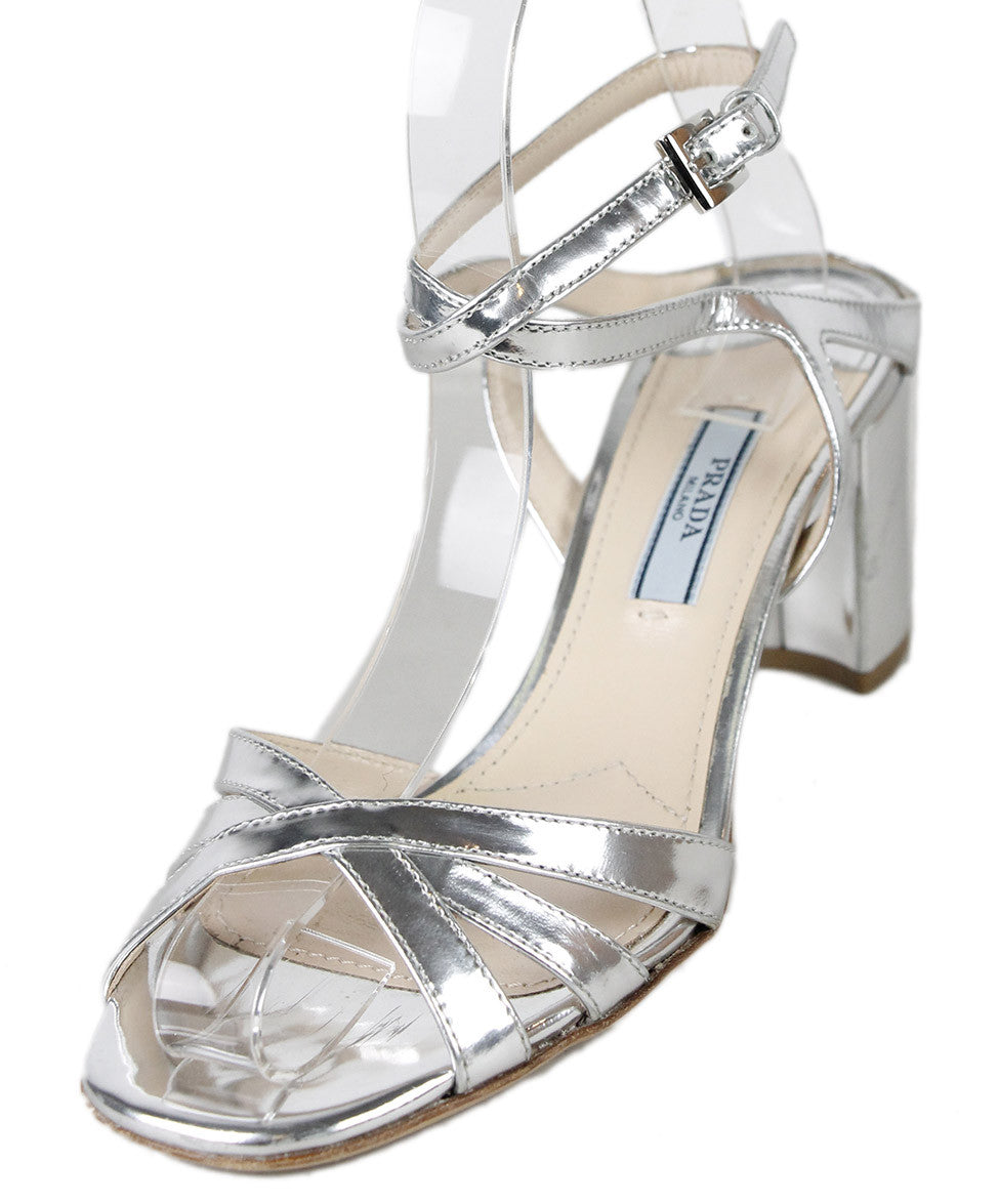 Prada Silver Patent Leather Shoes Sz 36