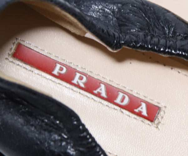 Prada Black Leather Flats 6