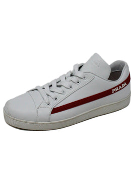 Prada Sport White Leather Sneakers with Red Rubber Accent 1