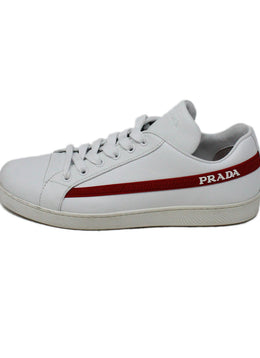 Prada Sport White Leather Sneakers with Red Rubber Accent 2