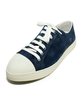 Prada Sport Blue Navy Suede White Rubber Sneakers 1
