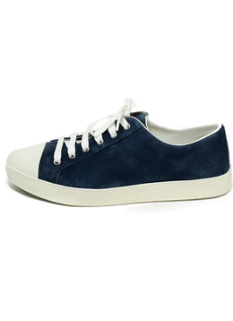 Prada Sport Blue Navy Suede White Rubber Sneakers 2