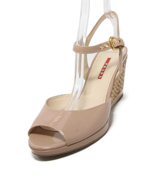 Prada Sport nude patent leather wicker sandals 1