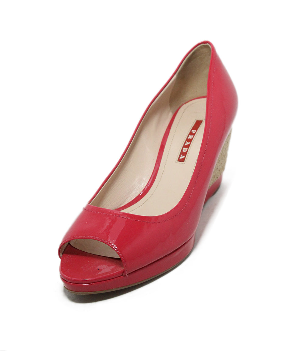 Prada Sport pink patent leather wedges 1