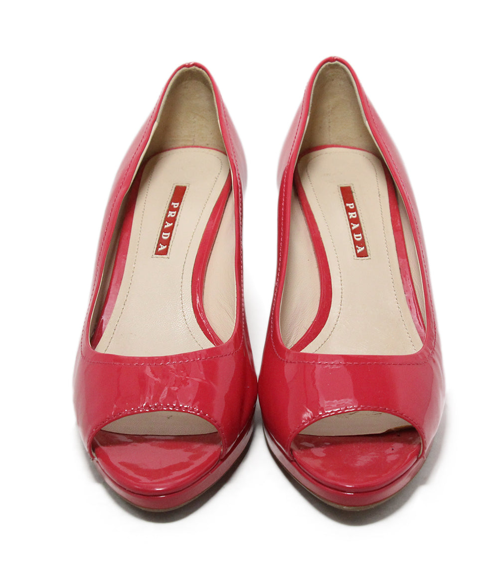 Prada Sport pink patent leather wedges 4
