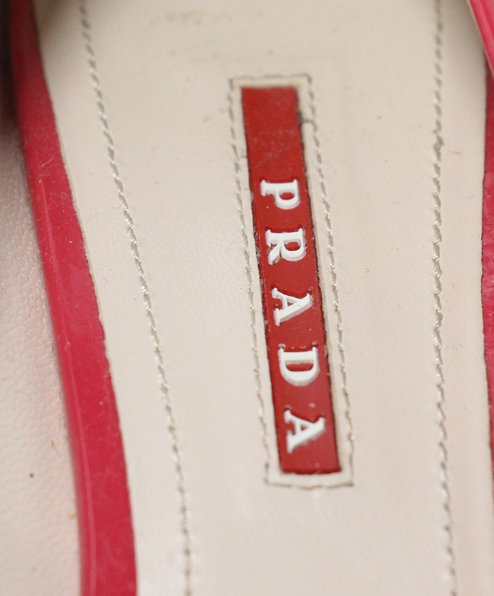 Prada Sport pink patent leather wedges 7
