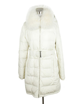 Prada Sport White Quilted Nylon Fox Trim Puffer Coat 1