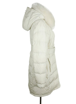 Prada Sport White Quilted Nylon Fox Trim Puffer Coat 2
