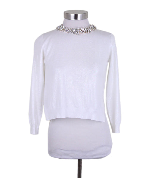 Prada White Cotton Rhinestone trim Sweater 1