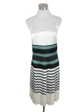 Prada White Green Black Stripes Viscose Pleated Dress 1