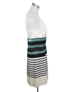 Prada White Green Black Stripes Viscose Pleated Dress 2