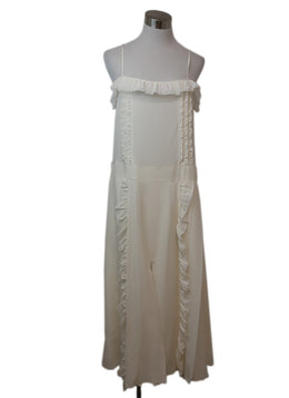 Prada Ivory Silk Ruffle Trim Dress 1