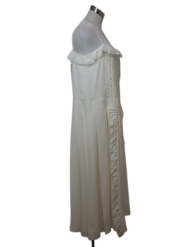 Prada Ivory Silk Ruffle Trim Dress 2
