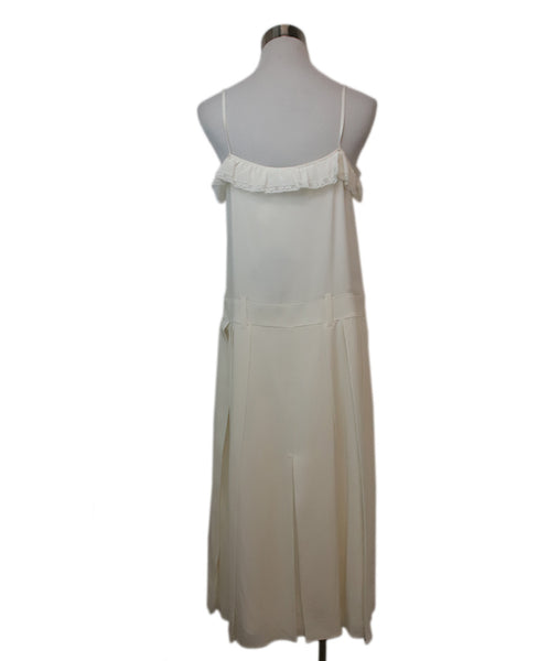Prada Ivory Silk Ruffle Trim Dress 3