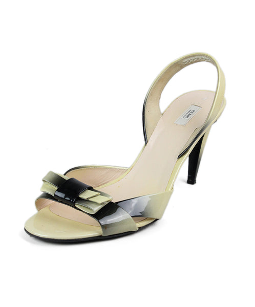 Prada Yellow Black Patent Leather Sandals 1