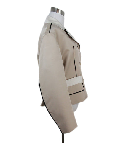 Prada beige black trim jacket 1