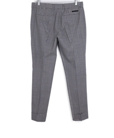 Prada Black Blue Beige Check Wool Pants 1