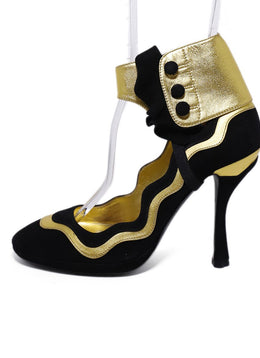 Prada Black Gold Suede Leather 2