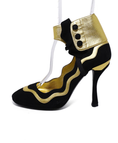 Prada Black Gold Suede Leather 1