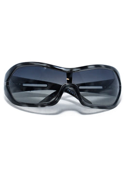 Prada Black Grey Frame Mask Sunglasses 1