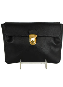 Prada Black Leather Clutch with Gold Hardware | Prada