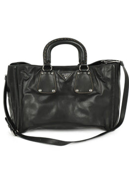 "Satchel Prada Black Leather ""as is"" W/Dust Cover Handbag 1"