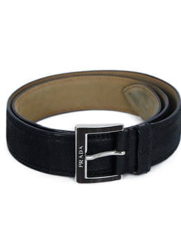 Prada Black Leather Silver Wood Buckle Belt 1