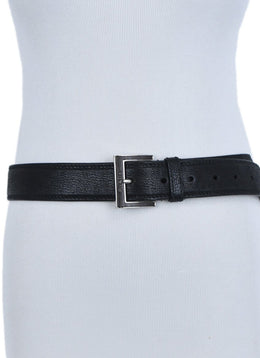 Prada Black Leather Silver Wood Buckle Belt 2